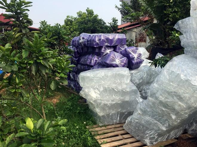 Nhiều can nhựa các loại được xếp ngoài khu xưởng