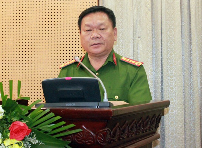 Đại tá Nguyễn Văn Sáu - Phó Cục trưởng Cục Cảnh sát môi trường phát biểu tại hội nghị