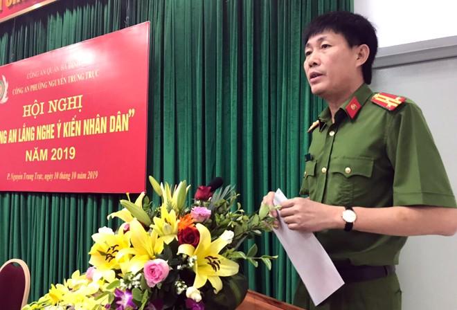 Thượng tá Hứa Việt Hưng, Phó trưởng CAQ Ba Đình phát biểu chỉ đạo hội nghị