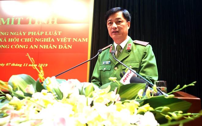 Đồng chí Thiếu tướng Nguyễn Duy Ngọc, Thứ trưởng Bộ Công an phát biểu tại buổi lễ