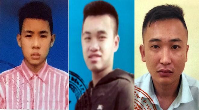 Bị can Hoàng Thanh Tùng (áo kẻ hồng) cùng đồng bọn bị bắt giữ sau khi Tùng gây án bỏ trốn và bị cơ quan Công an ra lệnh truy nã toàn quốc