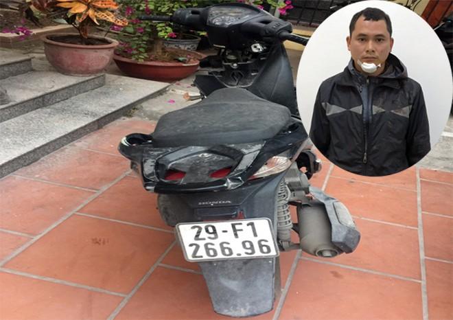 Đối tượng Hùng và chiếc xe Honda SH màu đen, BKS: 29F1 - 266.96 vừa trộm cắp được thì bị Tổ công tác 141 CATP Hà Nội bắt giữ