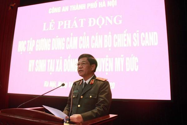 Trung tướng Đoàn Duy Khương, Ủy viên Ban thường vụ Thành ủy, Bí thư Đảng ủy, Giám đốc CATP Hà Nội phát biểu tại buổi Lễ phát động