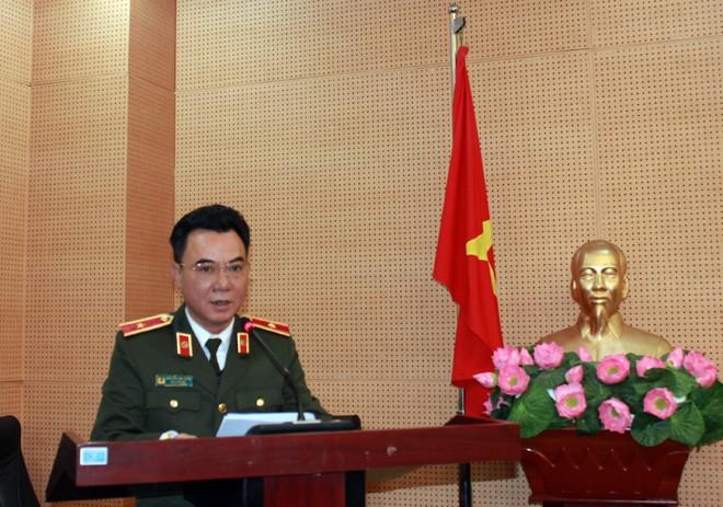 Thiếu tướng Nguyễn Anh Tuấn , Phó Giám đốc - Thủ trưởng Cơ quan An ninh điều tra CATP Hà Nội chủ trì, phát biểu tại lễ công bố