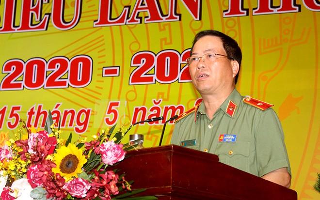 Thiếu tướng Đoàn Ngọc Hùng - Ủy viên Ban Thường vụ Đảng ủy, Phó Giám đốc CATP Hà Nội dự và phát biểu tại Đại hội