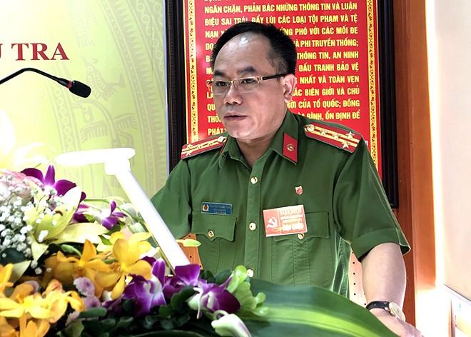 Đại tá Nguyễn Thanh Tùng – Uỷ viên Ban Thường vụ Đảng uỷ, Phó Giám đốc CATP Hà Nội phát biểu tại Đại hội
