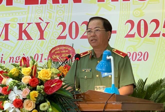 Đồng chí Thiếu tướng Đoàn Ngọc Hùng – Uỷ viên Ban Thường vụ Đảng uỷ, Phó Giám đốc CATP Hà Nội phát biểu tại Đại hội