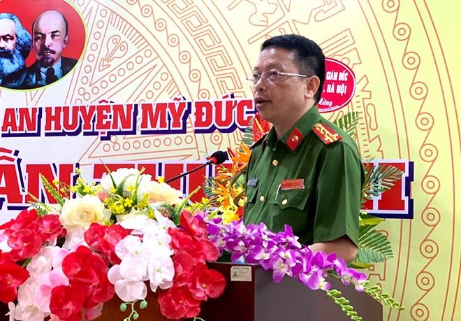 Đại tá Nguyễn Hồng Ky - Phó Giám đốc CATP Hà Nội dự và phát biểu tại Đại hội