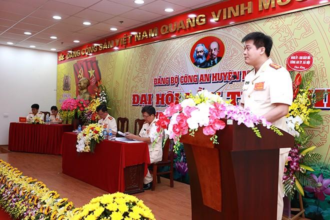 Thượng tá Nguyễn Thanh Bình - Trưởng CAH Mỹ Đức được tín nhiệm bầu là Bí thư Đảng ủy Đảng bộ CAH