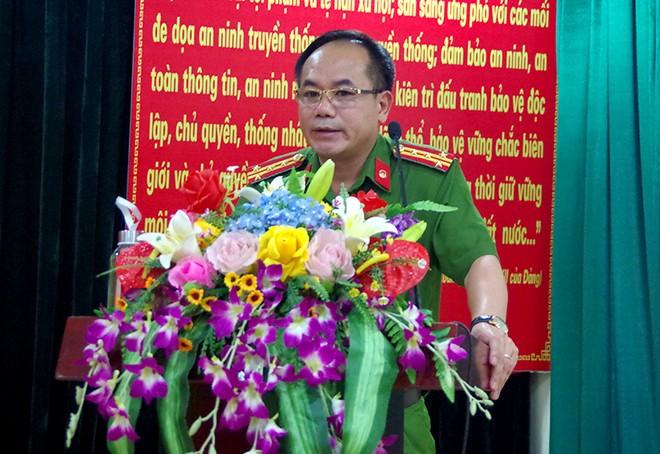 Đại tá Nguyễn Thanh Tùng - Phó Giám đốc CATP Hà Nội phát biểu tại lễ bế giảng