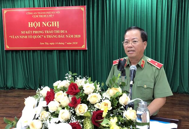 Thiếu tướng Đoàn Ngọc Hùng - Phó Giám đốc CATP Hà Nội dự và phát biểu chỉ đạo hội nghị
