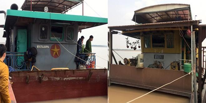 Hai phương tiện tàu sông có công suất nhỏ, lén lút khai thác cát trái phép trên sông Hồng (đoạn chảy qua địa bàn xã Phú Châu) bị lực lượng CAH Ba Vì phối hợp với lực lượng Công an xã Phú Châu bắt giữ vào đêm 16/2/2020