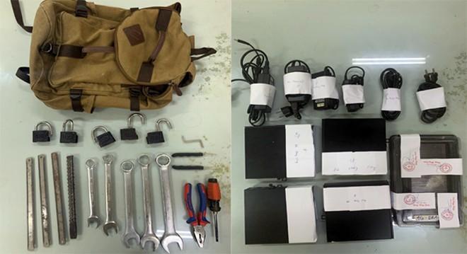 Tang vật và dụng cụ được đối tượng sử dụng trong các vụ trộm cắp tài sản