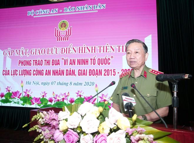 Đồng chí Đại tướng Tô Lâm, Ủy viên Bộ Chính trị, Bộ trưởng Bộ Công an phát biểu tại chương trình giao lưu
