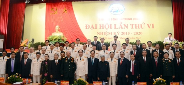 Các đồng chí lãnh đạo tham dự Đại hội Đảng ủy Công an Trung ương lần thứ VI