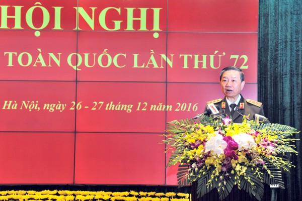 Thượng tướng Tô Lâm phát biểu khai mạc hội nghị Công an toàn quốc lần thứ 72