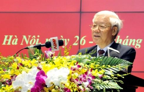 Đồng chí Tổng Bí thư Nguyễn Phú Trọng phát biểu chỉ đạo tại Hội nghị