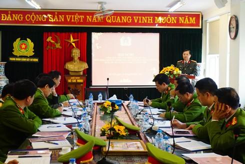 Đại tá Đào Thanh Hải, Phó Bí thư Đảng ủy, Phó Giám đốc CATP Hà Nội phát biểu chỉ đạo tại hội nghị