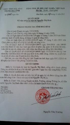 Quyết định kỷ luật bà Bình của Thanh tra tỉnh Hòa Bình, hồi tháng 11-2016