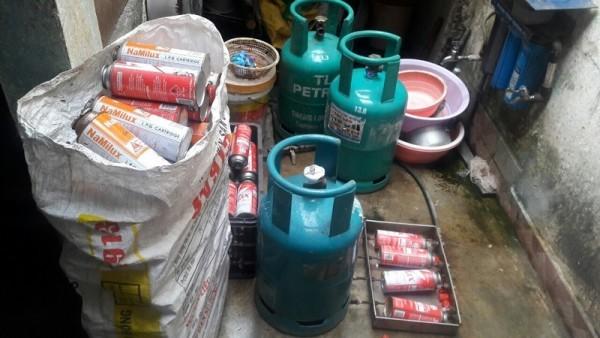 Tang vật vụ san chiết gas trái phép bị thu giữ
