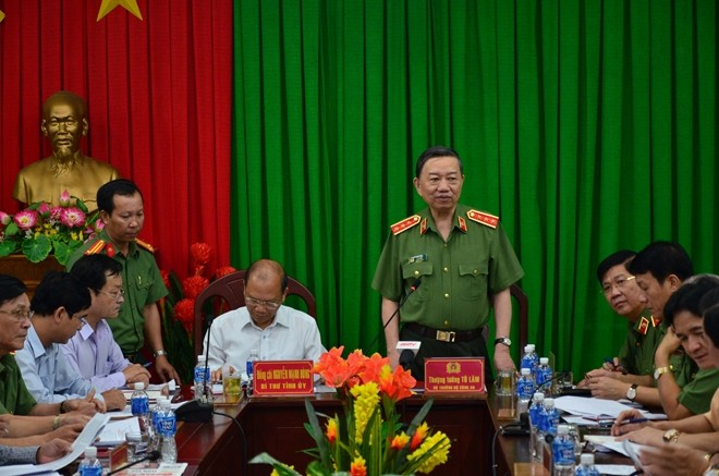 Bộ trưởng Tô Lâm phát biểu chỉ đạo tại buổi làm việc tại Công an tỉnh Bình Thuận