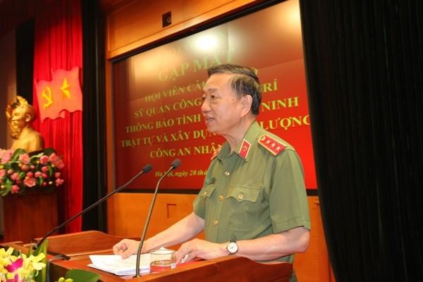 Bộ trưởng Tô Lâm phát biểu tại buổi gặp mặt, chiều 28-6