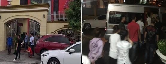 Các đối tượng phản ứng dương tính với ma túy bị đưa rời khỏi quán karaoke Sao Việt