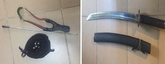 """Một số """"đồ nghề"""" của nhóm cướp bị thu giữ"""
