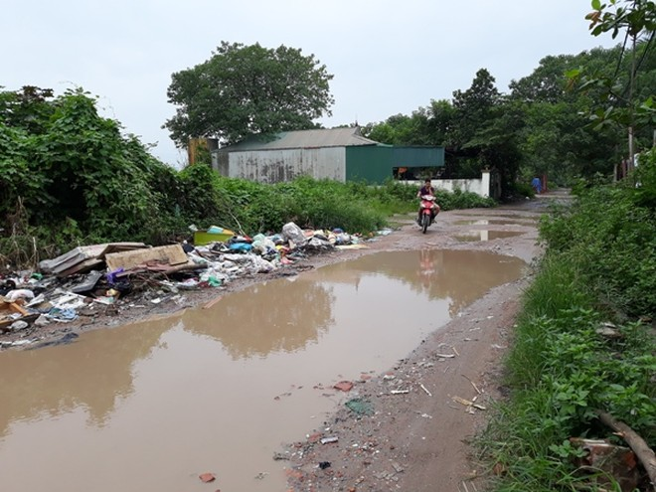 Đường nội bộ trong khuôn viên dự án xuống cấp, đầy rác thải