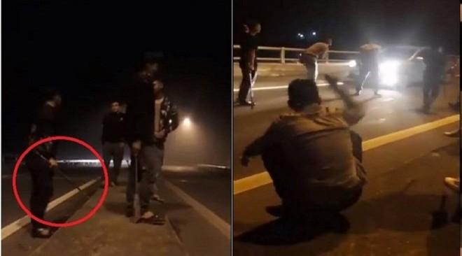 """Hình ảnh nhóm thanh niên chặn xe, uy hiếp tài xế để """"xin' tiền"""