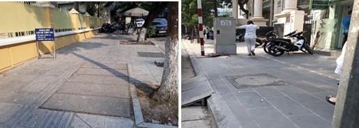 Đá lát mới vỉa hè phố Nguyễn Du (ảnh trái) được đánh giá tương đồng màu sắc, chất lượng với đá lát trước đỏ (ảnh phải)