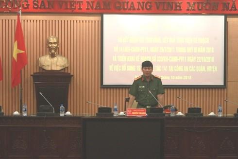 Đại tá Nguyễn Văn Viện - Phó Giám đốc CATP Hà Nội chủ trì, phát biểu tại hội nghị