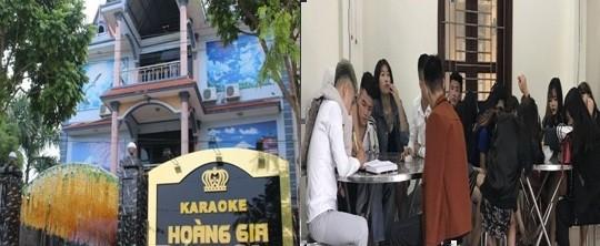 Quán karaoke Hoàng Gia và số đối tượng bị bắt quả tang