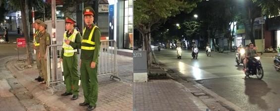 Đường phố ở quận Hai Bà Trưng vắng lặng hẳn trong thời khắc bóng lăn, và các đội viên dân phòng đã sẵn sàng tham gia ứng trực, cắm chốt bảo vệ ANTT (ảnh: Hữu Bốn)