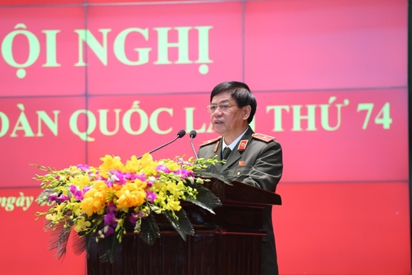 Thiếu tướng Đoàn Duy Khương - Bí thư Đảng ủy, Giám đốc CATP Hà Nội tham luận tại Hội nghị Công an toàn quốc lần thứ 74