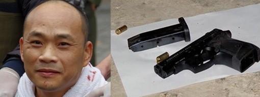 Nguyễn Hùng Cường và khẩu súng bị thu giữ