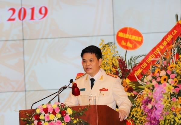 Đại tá Lê Ngọc Châu phát biểu tại buổi lễ