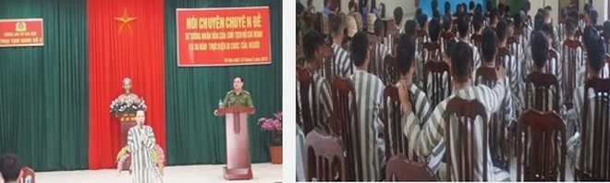 Đại diện lãnh đạo Trại tạm giam số 2 quán triệt với các phạm nhân ý nghĩa sâu sắc của buổi nghe, nói chuyện chuyên đề về Chủ tịch Hồ Chí Minh