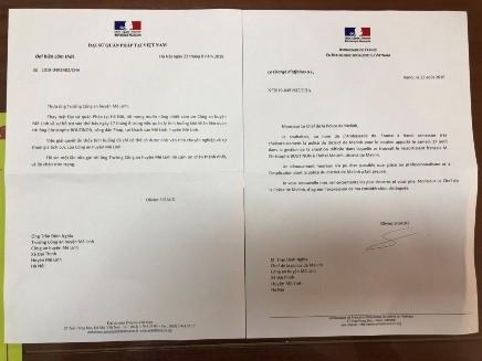 Bức thư cảm ơn CAH Mê Linh của Đại sứ quán Pháp
