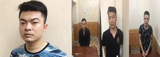 Phạm Tuấn Tám (ngoài cùng bên trái) và các đối tượng trong vụ án