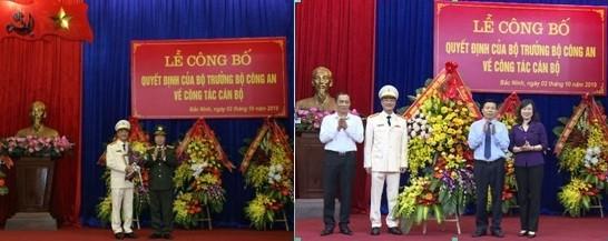 Thứ trưởng Bùi Văn Nam và các đồng chí lãnh đạo tỉnh Bắc Ninh chúc mừng tân Giám đốc Công an tỉnh - Đại tá Phạm Thế Tùng