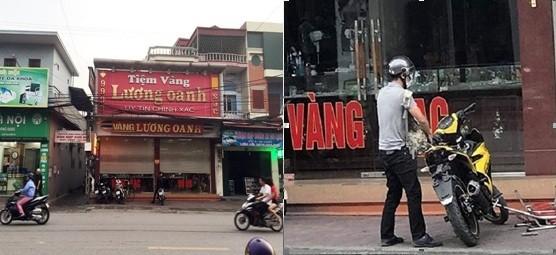 Tên cướp che gần kín mặt đến tiệm vàng Lương Oanh gây án