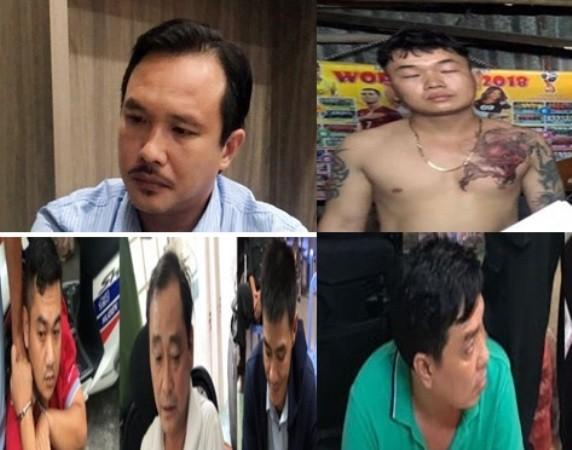 """""""Ông trùm"""" Nguyễn Hoàng Long (trên cùng, bên trái) và các đối tượng chính trong vụ án"""