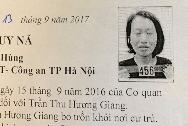 Trần Thu Hương Giang từng bị truy nã hồi năm 2017