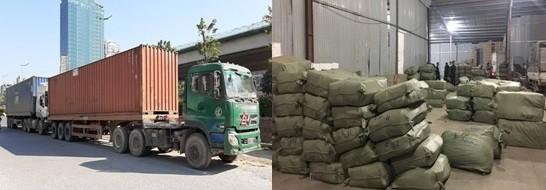 1 phương tiện chở thuốc bắc nhập lậu, được ngụy trang là hàng nông sản