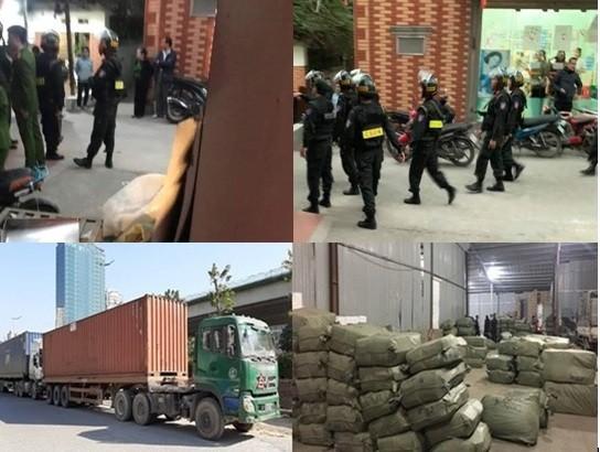 Lực lượng chức năng triển khai khám xét một số tụ điểm chứa hàng ở xã Ninh Hiệp; và phương tiện, tang vật bị thu giữ hôm 4-12