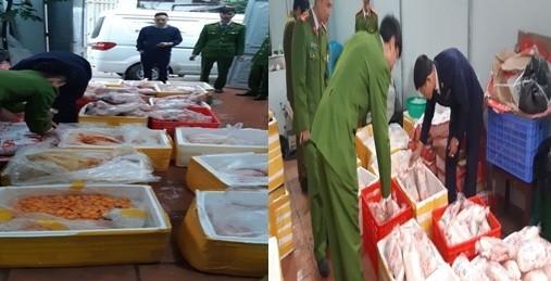 Lực lượng chức năng kiểm đếm số thực phẩm có dấu hiệu vi phạm an toàn vệ sinh