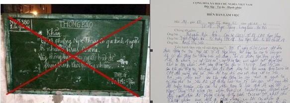 Nội dung không chính xác được viết ở bảng tin tổ dân phố 13; và biên bản làm việc được tổ công tác phường Ngọc Thụy lập đối với bà Yên