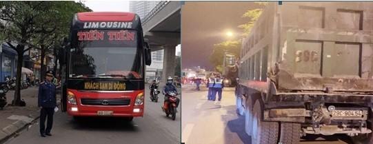 Nhiều trường hợp xe khách, xe tải vi phạm bị lực lượng chức năng quận Cầu Giấy xử lý