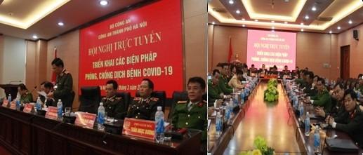 Trung tướng Đoàn Duy Khương - Giám đốc CATP Hà Nội trình bày tham luận tại điểm cầu của Công an Hà Nội